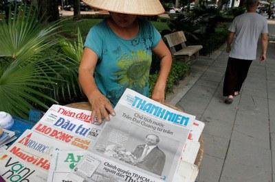 Một người bán báo tại Hà Nội, ảnh minh họa chụp tháng 9 năm 2018.
